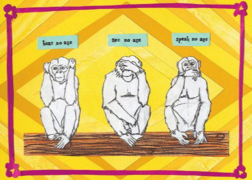 3 Monkeys Birthday C77 (C77) Greeting inside: You're ageless. Happy Birthday!