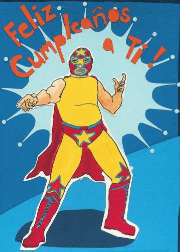 Cumpleanos Wrestler C82 (C82) Greeting inside: Blank inside