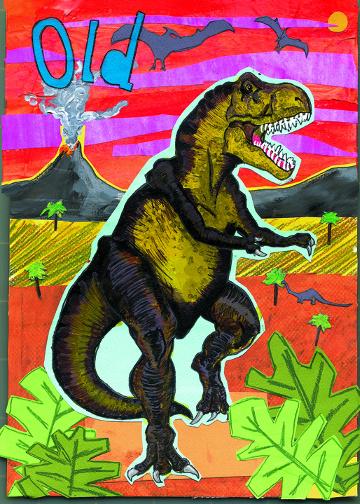 Dinosaur Birthday C66 (C66) Greeting inside: But still totally freakin' rad. Happy Birthday!