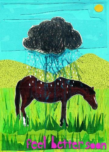 Feel Better Horse C49 (C49) Greeting inside: Blank inside