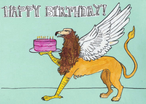 Griffin Birthday C87 (C87) Greeting inside: Hope it's totally mythic!