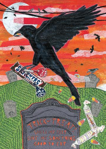 Halloween Crow C54 (C54) Greeting inside: Blank inside