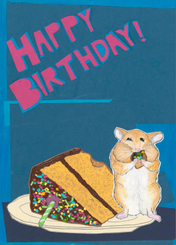 Hamster C108 (C108) Greeting inside: Now go stuff your face with cake!