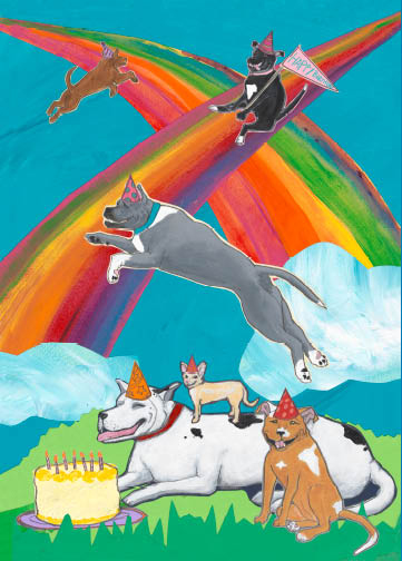 Rainbow Dogs C110 (C110) Greeting inside: Wishing you a double rainbow birthday!