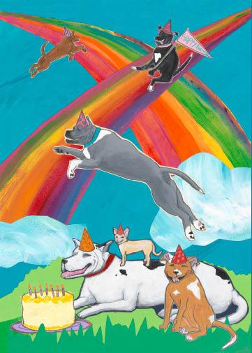 Rainbow Dogs C110 (C110) Greeting inside: Wishing you a double rainbow birthday!
