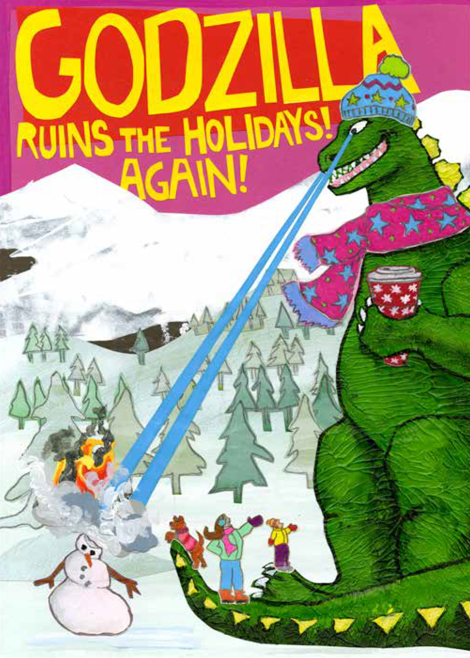Godzilla Holiday CH10 (CH10) Greeting inside: Blank Inside