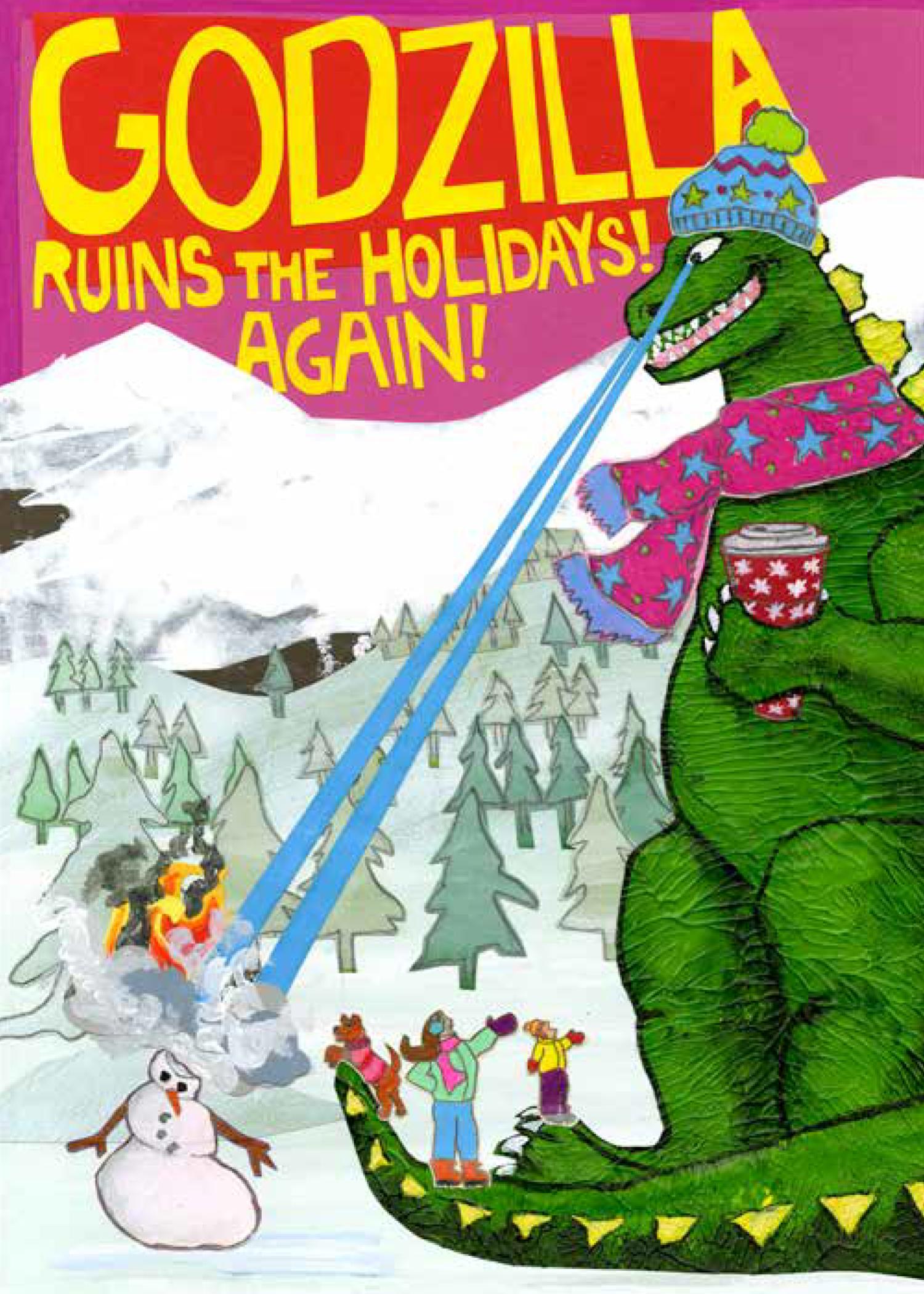 Godzilla Holiday CH10 (CH10) Greeting inside: Blank Inside