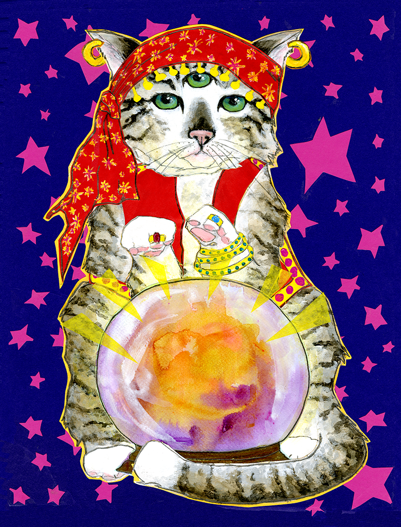 Psychic Cat C129 (C129) Greeting inside: Mittens The Psychic Cat says your future looks bright.