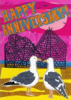 Anniversary Seagulls C32 (C32) Greeting inside: Life's an awesome ride with you by my side.
