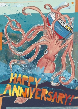 Squid Anniversary C103 (C103) Greeting inside: The love you two share is stronger than a giant squid.