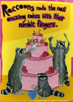 Raccoons Cake C111 (C111) Greeting inside: But they scare me so I got you this card instead. Happy Birthday!