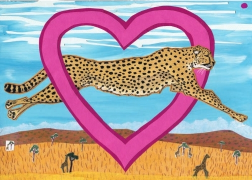 Heart Cheetah C35https://www.etsy.com/listing/563657747/dog-surfing-holiday-card?ref=shop_home_active_3 (C35) Greeting inside: You're always running through my mind.
