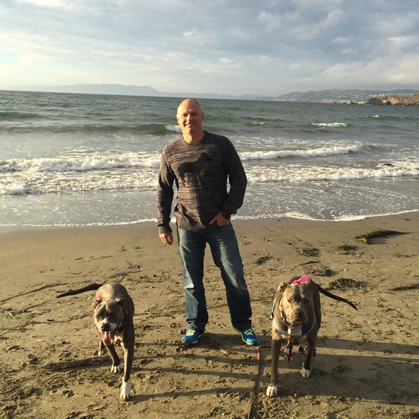 Britt on Beach with Dogs