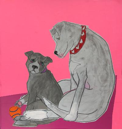 Sunde White illustrates her essay about adopting her second pitbull because her first dog loved her so much