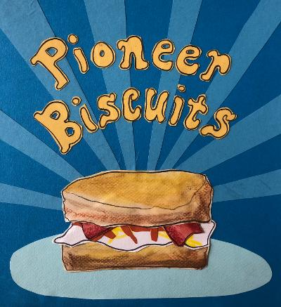 Art by Sunde White for her essay about being covid pioneers with a biscuit recipe