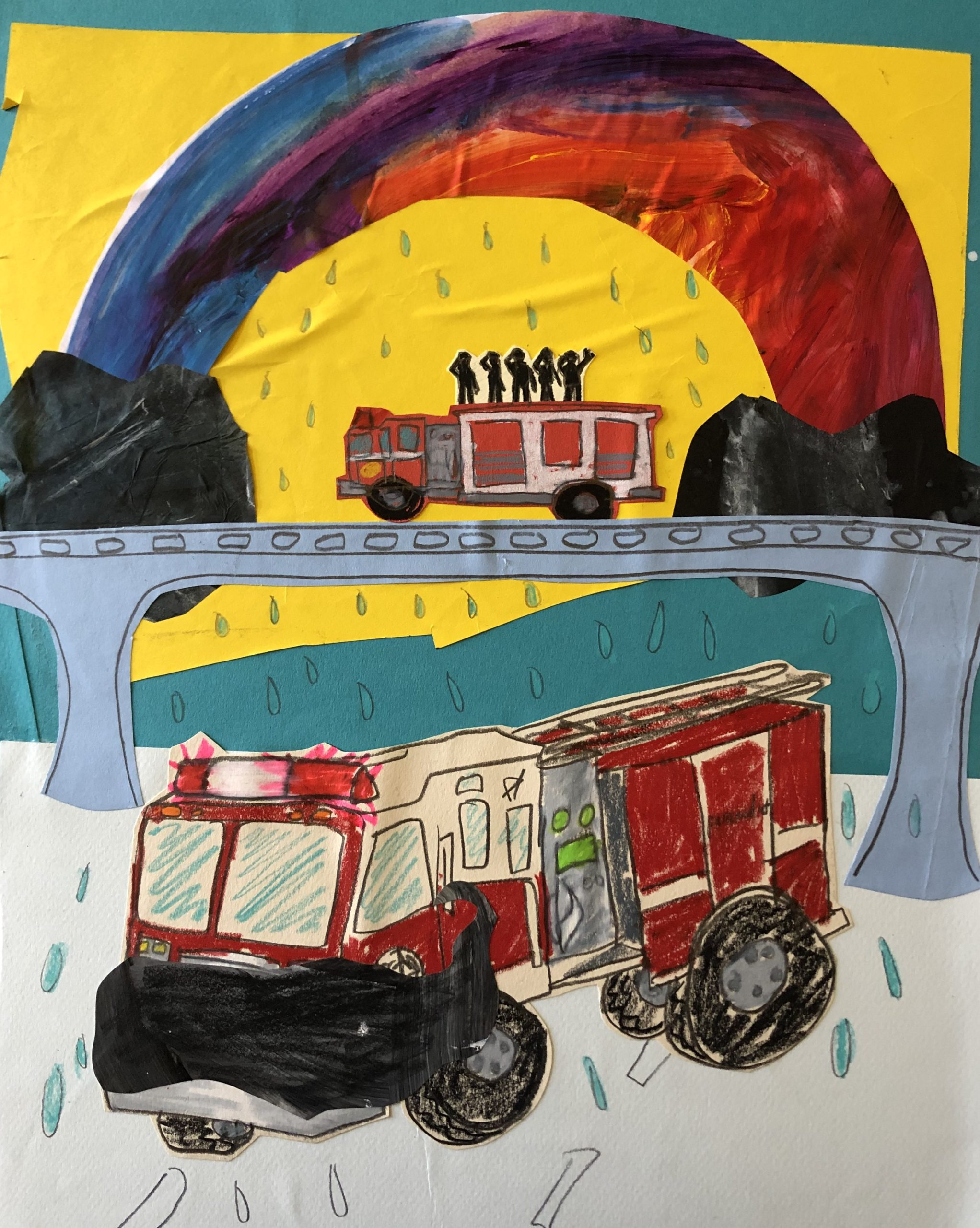 Sunde White illustrates her essay about the fire fighter funeral she saw
