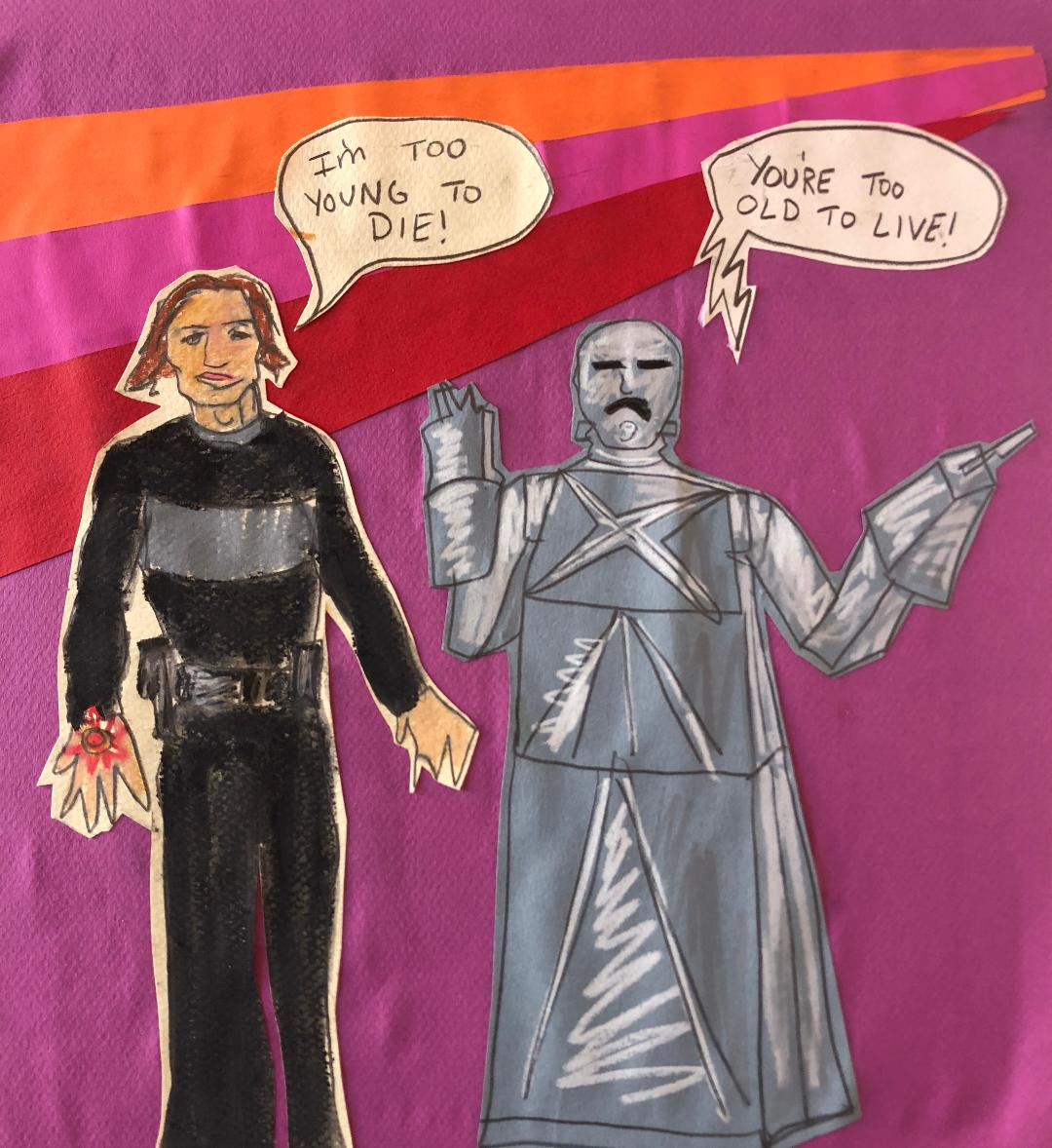"""Sunde White illustrates her essay describing the movie, """"Logan's Run"""" in regards to government suggesting it's okay for seniors to die for the economy"""