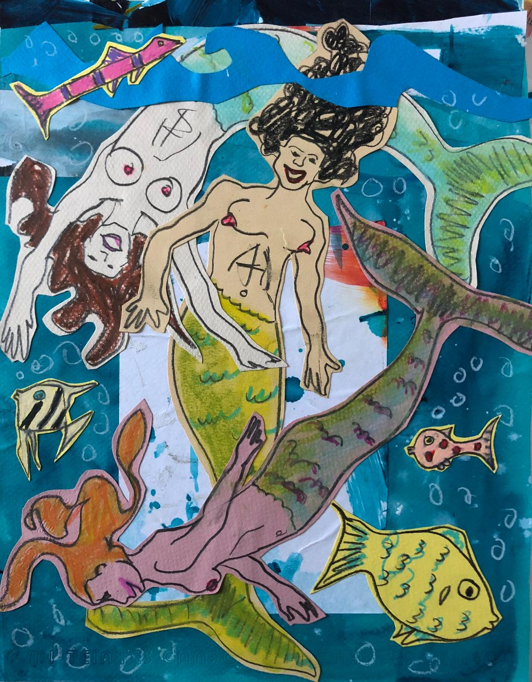 sunde white illustrates her essay about mermaids